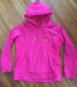 Under Armour Storm girls pink Camo hoodie size Large