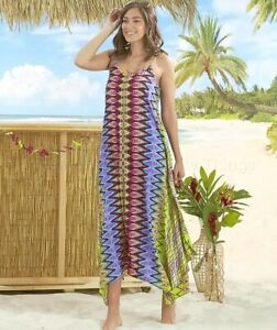 Women's Tropical-Colored Breezy Scarf Dress - Zigzag Large (14/16)