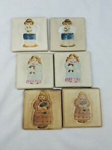 Vintage Mexican Talavera tiles kids print clay hand crafted