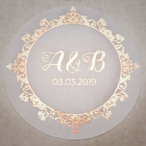 45MM WHITE ROUND PERSONALISED ROSE GOLD FOIL WEDDING LOGO LABELS STICKERS