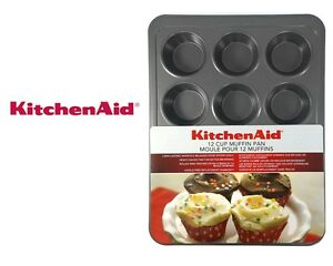 New KITCHENMAID 12 Cup Muffin Pan Heavy Metal Non-Stick Pan