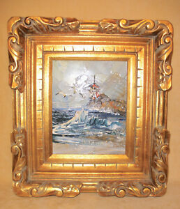 Signed Original 8x10 Lighthouse Oil Painting in Gold Ornate Frame by Morris Katz $224.88
