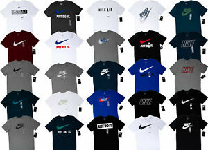 Men NIKE T SHIRT Graphic Tee Crew Neck S 3XL Athletic Fit Just Do It Swoosh $21.77