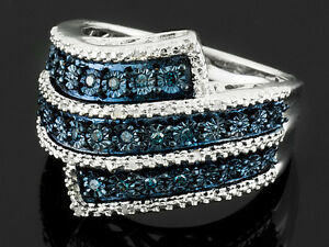 Monture Diamond™ .10ctw Blue Velvet Diamond™ & White Diamond Rhodium Over SS sz5