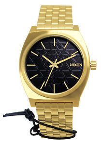 Nixon A0452478 Time Teller Black Stamped Dial Gold Steel Bracelet Watch New