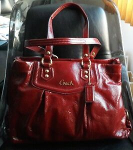 COACH ASHLEY PATENT LEATHER CARRYALL BAG PURSE F20464 CRIMSON RED $398 - RARE