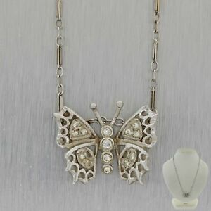 Antique Vintage Art Deco 14K White Gold .07ctw Diamond Butterfly Pendant Necklac