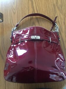 Coach 1941 Reflective Dark Red Patent Leather Handbag Never Used! Was $300.