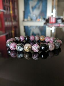 Genuine Multicolor Tourmaline bead bracelet MEN Stretch AAA 10mm - 8