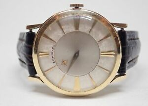 Longines 10k Gold Filled White Florentine Mystery Dial Vintage Mens Watch