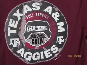 New Size S Texas A&M T shirt Aggies Gig' Em Full Service Wrecking Crew Football $6.99