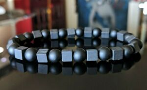 Black Matte Onyx (Grade AAA) Cube Sphere Bead Bracelet Men (Stretch) 8mm 8.25