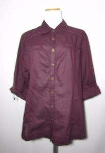Womens Cato Button Down Shirt by Cato Plus 1820W Wine Roll Tab Sleeves