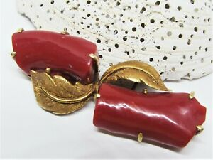 Antique Edwardian Deep Oxblood Red Coral Branch Brooch Pin 18K Gold Leaf Design