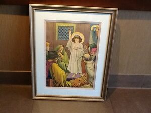 Jesus at the Temple Chromolithograph in Gold Frame 1927 Signed Jos Speybrouck