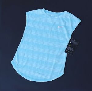 Girls The Nike Tee Dri Fit Athletic Cut Shirt Blue NWT $9.98