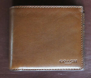 Coach Men's NEW Leather Compact ID Wallet w Removable Insert