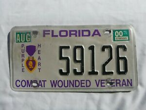 2000 Florida Purple Heart License Plate Tag Combat Wounded Veteran