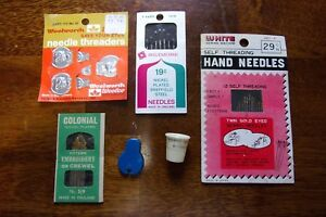 Vtg Lot Sewing Singer Thimble Needle Threaders England West Germany Japan $16.98