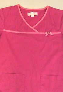 KOI by Kathy Peterson Pink Ribbon w Rhinestone Women#x27;s Medical Scrub SMALL