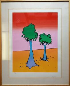 Original 1981 Signed Peter Max Life On A Yellow Planet Lithograph Hors Commerce