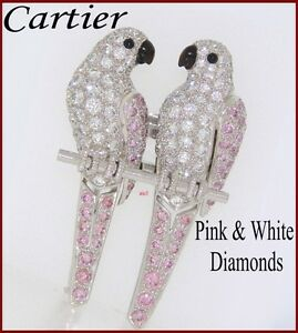 RARE CARTIER PLAT JEWELED PAIR LOVE BIRDS BROOCH  PINK & WHITE DIAMONDS  5.50tcw