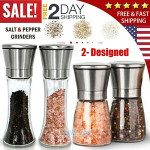 4X Salt and Pepper Grinder Set Ceramic Mills Stainless Steel Shakers Spice Mill