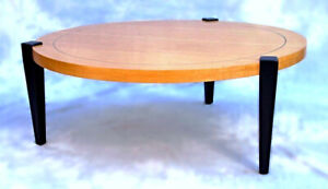 Mid Century Modern Round Inlaid Decorator Coffee Cocktail Center Table Vintage