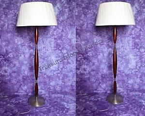 Pair 2 Modern Design Brushed Metal Mahogany Floor Lamps Vintage Mid Century Bed