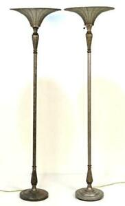Pair 2 Modern Design Silver Beaded Glass Torch Floor Lamps Vintage Mid Century