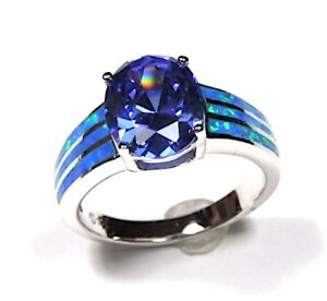 3 Carats Tanzanite & Blue Fire Opal Solid 925 Sterling Silver Ring Size 6789