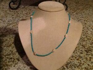 Women's or girls aqua blue beads with Sea shell  necklace 17