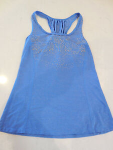 Lululemon blue silver bullet running workout yoga top tank size 6 small EUC $58