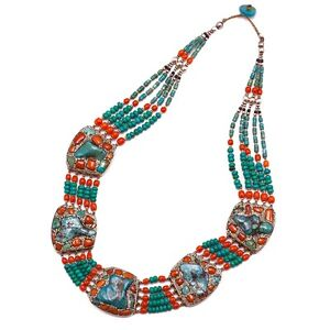 Tibetan Turquoise Coral Sterling Silver Choker Necklace Handcrafted Collar