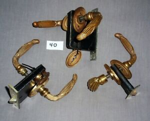 Three Matching Pre-1900 Victorian Brass Lock Sets with Lever Door Handles Rare