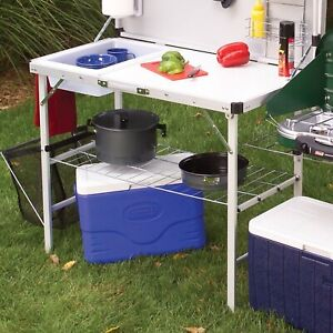 Outdoor Camping Kitchen Portable Folding Sink Prep Cooking Table and Storage
