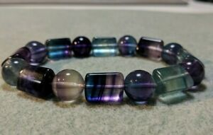 FLUORITE (Grade AAA+) Sphere & Column bead bracelet for MEN (Stretch) 12mm - 8