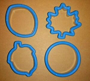 Cookie Cutters Blue Fall Assortment of 4 Acorn Leaf Football Round Flower