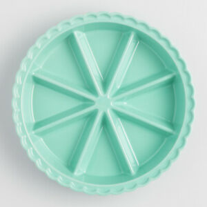 Aqua Teal Ceramic Scone Baking Pan 8-Section Triangle Cornbread Bakeware Dish