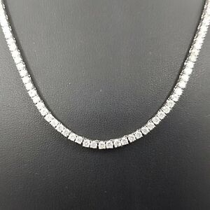 11.00 TCW Round Cut 14K White Gold eternity tennis Necklace D VS2 certified