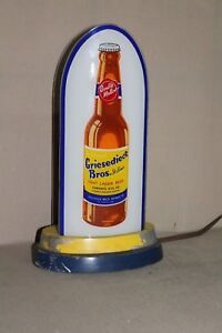 SCARCE 1930's GRIESEDIECK BROS BEER ST LOUIS  REVERSE GLASS BULLET LIGHTED SIGN