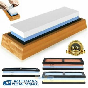 Knife Sharpening 2000/5000 Grit Stone Kitchen Whetstone Sharpener Wet Two Sided
