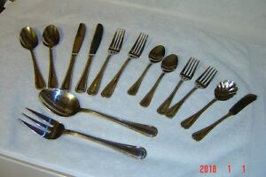 14 pcs group  WALLACE Stainless GOLD ROYAL BEAD 2 Place Settings 4 SERVING PCS