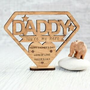 Personalised Fathers Day Gift Wooden Birthday Plaque Hero Superman Dad Wood OAK