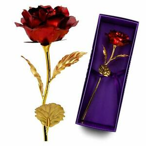 VALENTINES DAY Gift for Her US 24K Dipped Gold Foil Flower Rose Wife Mother NEW
