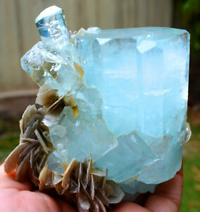 641 Gram Stunning Double Terminated And undamaged aquamarine crystals with Mica
