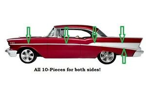 57 1957 Chevy 210 2-Door Sedan & Station Wagon Stainless Side Trim Moldings New