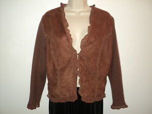 Bagatelle Size L Large Cardigan Sweater Jacket Brown Suede Look Knit Back/Sleeve