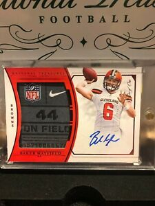2018 PANINI NATIONAL TREASURES BAKER MAYFIELD AUTO LAUNDRY TAG PATCH TRUE 11
