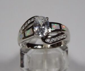White Topaz & Fire Opal Inlay 925 Sterling Silver Ring sizes 6-9